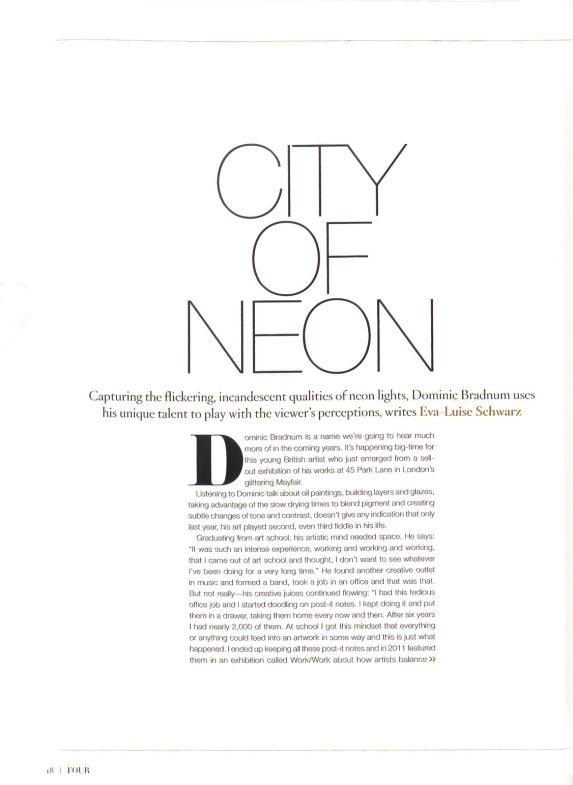 City of Neon feature in FOUR Magazine Autumn 2014